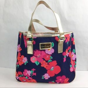 Lilly Pulitzer Blue & Red Floral Print Tote Bag